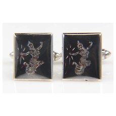 .925 Sterling Silver and Enamel Cuff Links - Sea Goddess Cuff Links