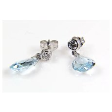 Aquamarine Briolette and Diamond 14K White Gold Earrings