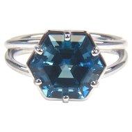 London Blue Topaz 14K White Gold Ring December Birthstone Ring