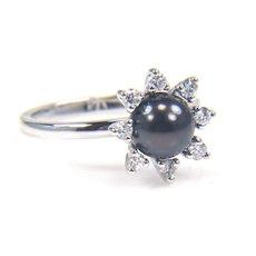 Black Pearl Ring - Diamond and Pearl Ring - Black Cultured Pearl Ring - Diamond Cluster Ring - White Gold Pearl Ring