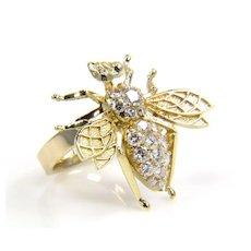 Vintage Gold Bee -Diamond Bee - Gold Bee Ring - Diamond Bug - Diamond Ring