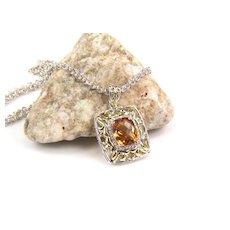 Citrine Pendant - Citrine - Silver Citrine Pendant - Citrine Necklace - Gemstone Diamond Pendant  - November Birthstone