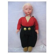 Compo and Wooden Dutch Boy Doll  - Unique Body -