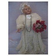 Folk Art - Kindred Spirits - Guardian Angel - Liz Clark - Signed on Stand -