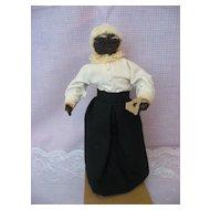 "Folk Art - Black Corn-Cob Lady - 9"" Tall - Unique -"