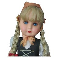 """Celluloid/Hard Plastic Doll of Italy - Circa 1950 - International Original Outfit - 20"""" Tall"""