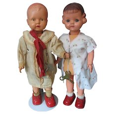 Pair of Walking Dolls - 1939's - Celluloid & Metal - Japan - Wind Up With Keys - Both Work Fine -