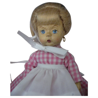 """Madame Alexander """"Edith The Lonely Doll"""" - Woodkins - Wooden Jointed Doll - With Mr. Bear - New in Box -"""