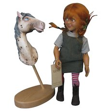 Rare - Xenis - Pippi Longstocking & Horse Alfonso - Wooden Jointed Doll - 2011