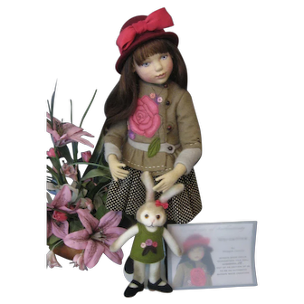 """Maggie Iacono Doll """"Marcelline"""" 15""""  With Bunny Felt Over Wooden Ball Jointed Body. #28 of Only 40 Made 2014"""