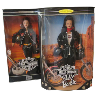 Barbie PAIR of Harley Davidson Dolls - 1998 & 2000 Never Removed From Boxes Mattel