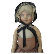 """Vintage Painted Cloth Doll - Hand Made """"Suisses"""" Unusual Doll"""