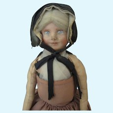 "Vintage Painted Cloth Doll - Hand Made ""Suisses"" Unusual Doll"