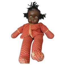 "Freundlich ""Goo Goo Eva"" Black Baby Topsy Doll - Googly Flirty Eyes - 1937- Compo & Cloth"