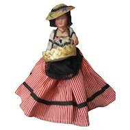 """Kimport Doll - Celluloid - 7"""" Flower Peddler - With Kimport Tag - Made in France"""