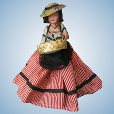 "Kimport Doll - Celluloid - 7"" Flower Peddler - With Kimport Tag - Made in France"
