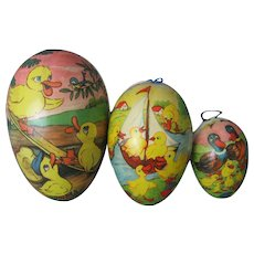Three (3) Vintage Paper Mache Easter Eggs/Candy Containers - Marked Germany - GDR