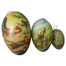 Three (3) Vintage Paper Mache Easter Eggs/Candy Containers -Marked Germany