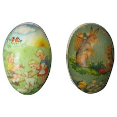 Two Vintage Paper Mache Easter Eggs/Candy Containers - Market Germany GDR