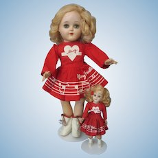 Mary Hartline Outfit on Ideal Toni P-91 Doll and Second Smaller Doll in Matching Outfit