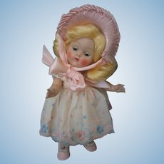Vintage Ginny Debutant Series *BECKY* Doll With Rare Original Pleated Ribbon Hat - 1952 - #62
