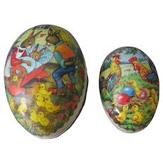 2 Vintage Paper Mache Easter Eggs/Candy Containers - Marked in Made in Germany Democratic Republic GDR