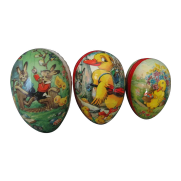 3 Vintage Paper Mache Easter Eggs/Candy Containers - 2 Marked Made in Western Germany