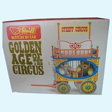 Steiff **Golden Age of the Circus** - Two Dicky Bears in Circus Wagon - Never Out of The Box - Never Displayed