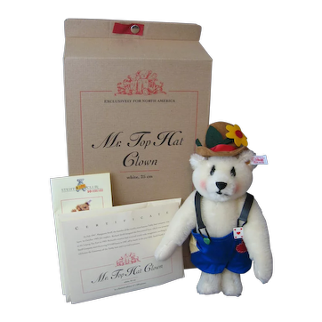 Steiff *Mr. Top Hat* Clown Bear - In Box - Never Displayed - White Tag In Ear