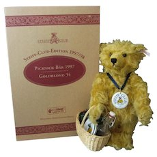 Steiff  *Picnic Bear* - Club Edition - Gold Blond 34 - Ean 420108 - New In Original Box/ With Accessories - Growler