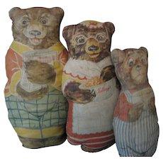Cloth Vintage Advertising Kelloggs Papa Bear, Mama Bear, Baby Bear Dolls --Pre 1930's
