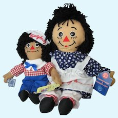 Two African American Raggedy Ann & Andy Cloth Dolls- New With Tags - Applause