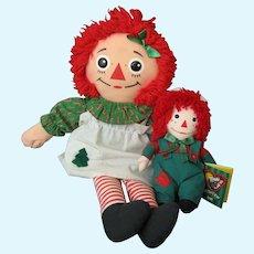 2 Holiday Raggedy Ann & Andy Cloth Dolls - Playskool and Snowden - Christmas/Holiday Dolls
