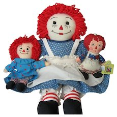 3 Raggedy Ann Dolls - 1 Handmade and 2 from Applause
