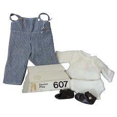 Sasha Baby Doll Outfit - **Denim Play** #607 - Overalls, Top, Underpants and shoes - Tagged With Button