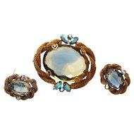 Givre Art Glass Gold Mesh Brooch and Earrings Set - Pristine