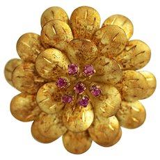 18K Gold Flower Brooch with Pink Stones, Italy and Artisan Signed