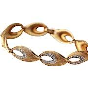 Kramer Bracelet - Brushed Gold-tone Finish with Brilliant Clear Rhinestones