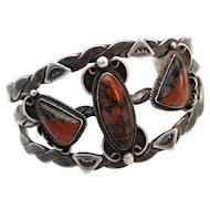 1930s Navajo Sterling Bracelet with Petrified Wood Stones