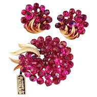 Trifari Fuchsia Briolette Rhinestone Floral Wreath Brooch and Earrings, 1966