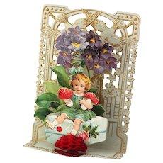 """Victorian German Valentine Girl with Strawberries, Pop Up, Die Cut Mechanical """"To My Valentine"""""""