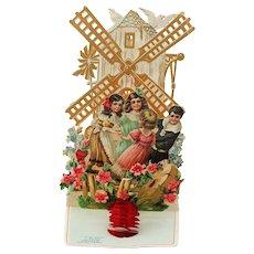 """Victorian German Valentine Children at Windmill, Pop Up, Die Cut Mechanical """"My Valentine"""""""