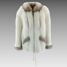 Stroller Fur Coat, Soft Silky Pelts - White Body with Gray Accent