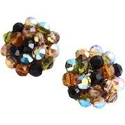 Vogue Beaded Rich Jewel Tone Clip Earrings