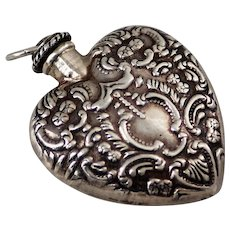 Victorian Perfume Bottle - Repousse Sterling Silver