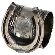 Lucky Horseshoe Sterling Napkin Ring, Vintage