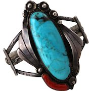 Old Pawn Navajo Turquoise, Coral Sterling Bracelet