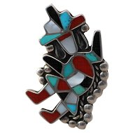 Zuni Native American Knife Wing Inlaid Ring, Sterling