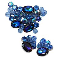 Juliana D&E Heliotrope Blue Brooch and Clip Earrings