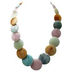 Jay King Quartz Necklace, Large Round Graduating Discs, Pastel Colors - Sterling